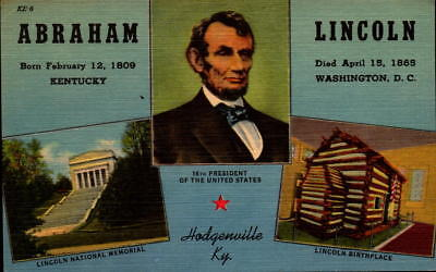Postcard Abraham Lincoln Hodgenville Kentucky Linen Unused