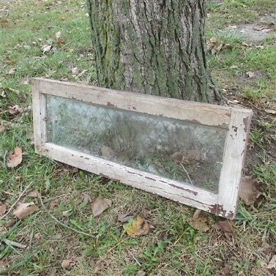 Old Wood Transom Window Glass Pane Vintage Architectural Salvage 31.75 x 12 a21