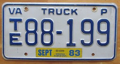 Virginia 1983 TRUCK License Plate NICE QUALITY # TE88-199