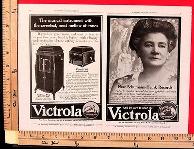 1910 VICTOR Victrola phonograph SCHUMANN HEINK 2-Page Vtg Print magazine Ad 9033