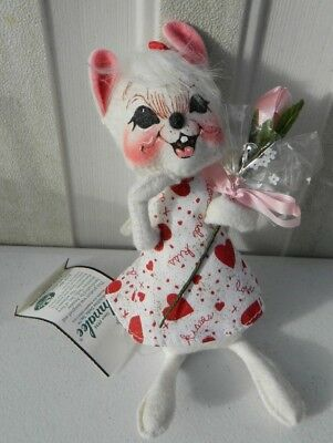 """Vintage Annalee Heart Felt Girl Mouse Hand Painted Doll 7"""" Tall LOOK"""