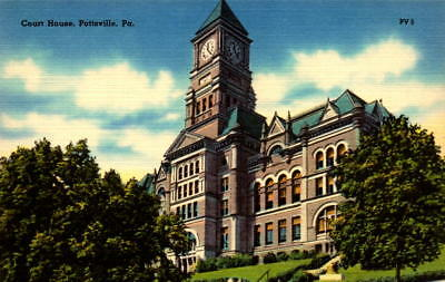 Postcard  Court House Pottsvile Pennsylvania  Unused Linen