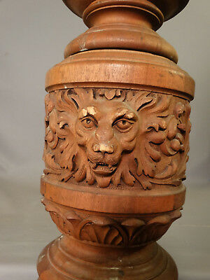 LG Antique 19thC Salvage VICTORIAN Estate CARVED Wood LION Bust NEWEL POST Lamp