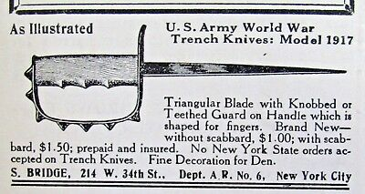 1928  US ARMY World War MODEL 1917 TRENCH KNIFE Magazine Ad Advertisement 8817aa