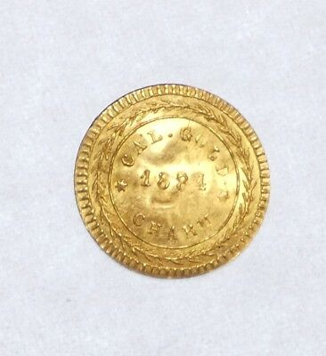1884 Cal GOLD Charm Arms of California UNCIRCULATED