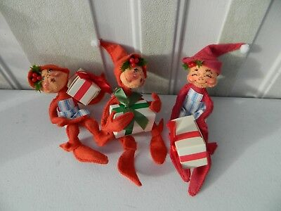 """Vintage Annalee Lot of 3 Red Elves w/ Presents Hand Painted Doll 7"""" Tall LOOK"""