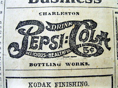 1913 South Carolina newspaper w a very early PEPSI -COLA AD showing their LOGO