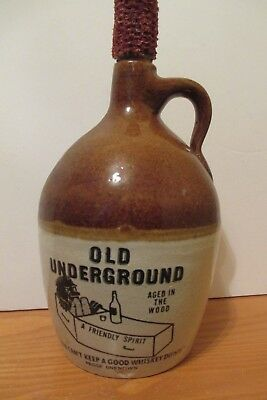 Old Underground Aged in the Woods Novelty Whiskey Jug with Corn Cob Cork -