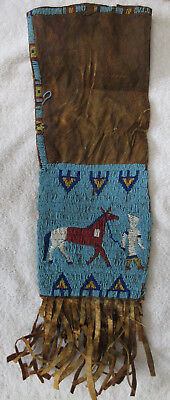 Very Nice Old Beaded Pictorial Sioux Tobacco Bag--Nr!