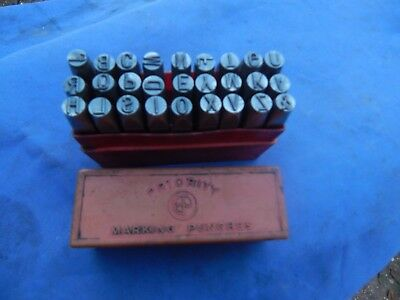 """Vintage Set of 27- Priority steel letter punches , 1/4"""" ,60 mm"""