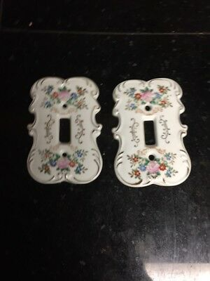 Pair Of Vintage Rose Floral Porcelain Switch Plate Light Covers S7310