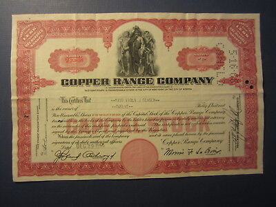 Old 1955 - COPPER RANGE COMPANY - Stock Certificate - Michigan