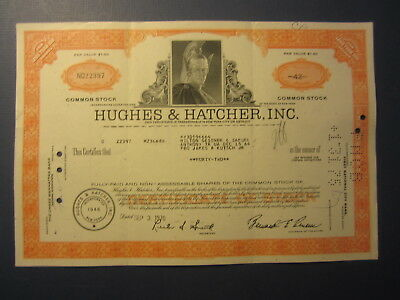 Old 1970 - HUGHES & HATCHER INC.  - Stock Certificate