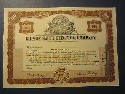Old Vintage - EDISON SAULT ELECTRIC COMPANY - Stock Certificate - Michigan