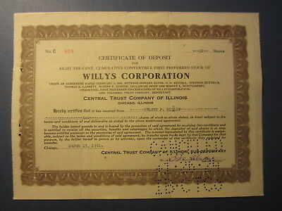 Old 1921 - WILLYS CORPORATION - Stock Certificate - AUTOMOBILE COMPANY