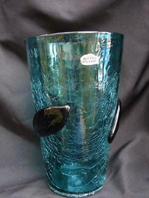 BLENKO - LARGE CRACKLE GLASS VASE w/ APPLIED LEAVES - 10""