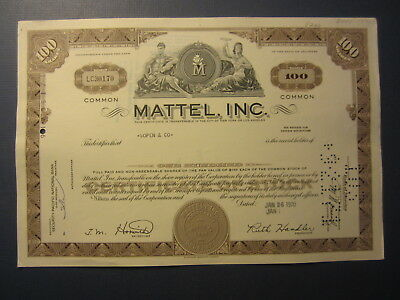 Old Vintage 1970 - MATTEL INC. - Stock Certificate - TOY Manufacturer