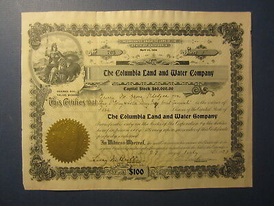 Old 1929 - COLUMBIA LAND and WATER COMPANY - Stock Certificate - CALIFORNIA
