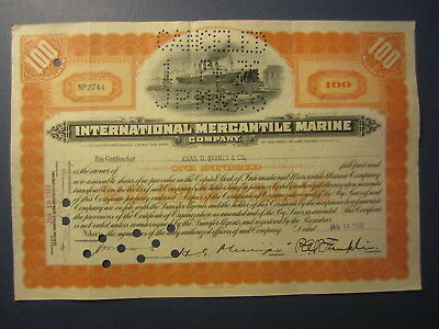 Old 1930 - INTERNATIONAL MERCANTILE MARINE - Stock Certificate - STEAMSHIP