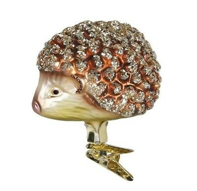 Inge Glas Hedgehog German Mouth Blown Glass Clip On Christmas Ornament
