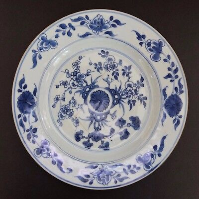 "Antique Chinese Blue And White 8 5/8"" Plate With Flowers Possibly Circa 1850"