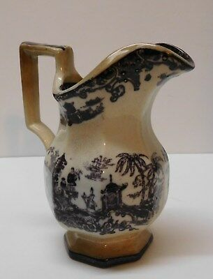 Creamer Pitcher Flow Black China Chinese Scenery English Transferware Antique