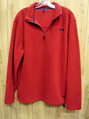 GAP Red Soft Fleece Pullover Quarter Zip Hoodie Jacket SIZE Large