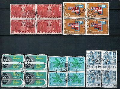 SWITZERLAND - Mixed lot of 5 Blocks of 4, Fine Used and CTO, LH