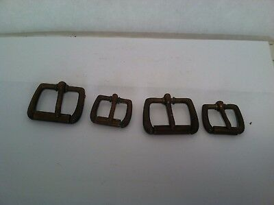 four (4) vintage antique brass belt buckles - 2 of each size