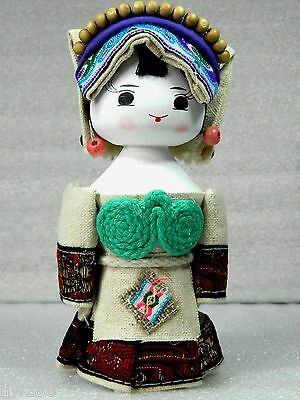 Hand Made Lovely Chinese Ethnic Minority Doll,Wooden Body,Coarse Cloth Dress