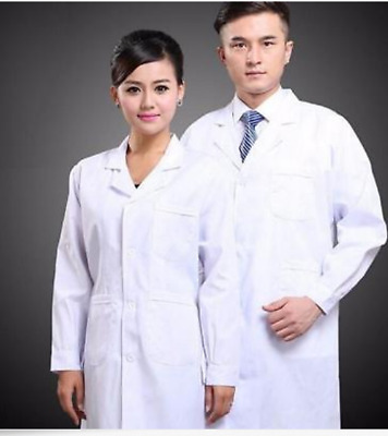 Womens Men White Lab Coat Scrub Medical Doctor's New Lapel Collar Jacket