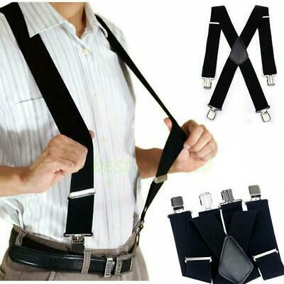 Black Mens Womens Clip-on Suspenders Elastic Y-Shape Adjustable Braces Solids Q