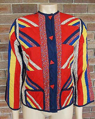 VTG 1970s Rare Homemade Hippie Folk Cotton Patchwork Quilted Jacket (XS)