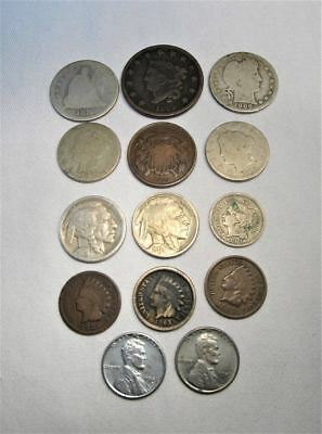 Vintage US Coins Lot 14pc Large Indian, 2 Cent, Liberty Silver Barber C585