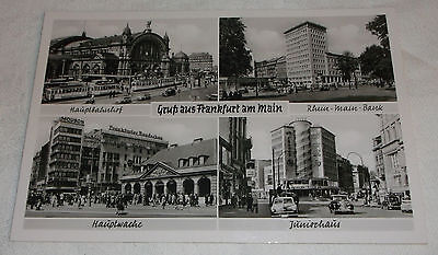 Postcard Vtg Glossy Picture - Greetings From Frankfurt Germany Bank Cars- Unused