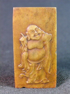 "Chinese Buddha Carved ""Ba Ling"" Stone Stamp Seal"