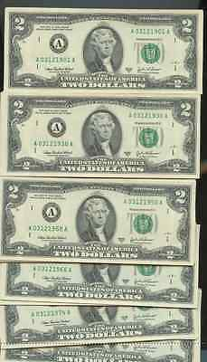 March 12 Birthday Year Two Dollar Bill Mint Unc All Years 1900-2000  03/12 Avail