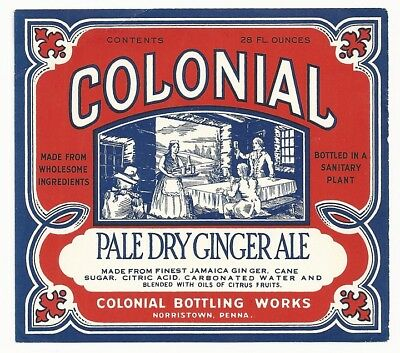 1930's Colonial Pale Dry Ginger Ale Label - Norristown, PA