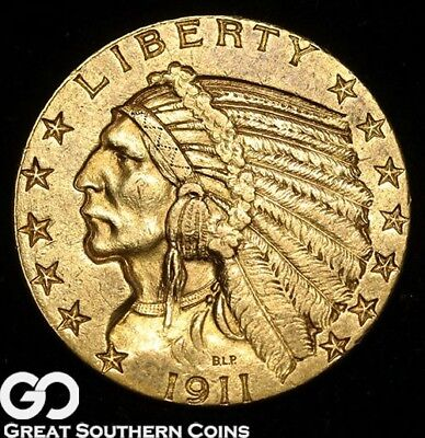 1911 Gold Half Eagle, $5 Gold Indian ** Free Shipping!