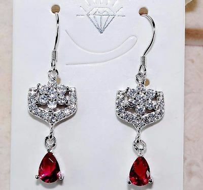 3CT Ruby & White Topaz 925 Solid Sterling Silver Earrings Jewelry , T3-1