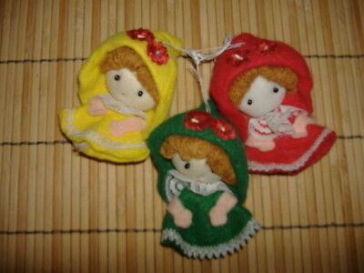 Vtg Lot 3 Felt Doll Christmas Ornaments Angels Handmade? Red Yellow Green