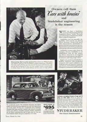 Owners call them cars with brains Studebaker ad 1941