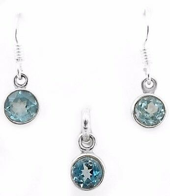 """Aquamarine  925 Solid Sterling Silver Earrings Pendant Set Jewelry 1"""" Long, R12"""