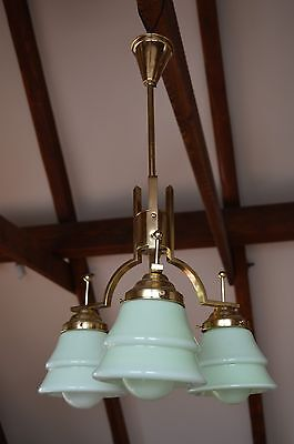 Czech Modernist Art Deco Chandelier Geometrical Light Green Layered Glass Shades