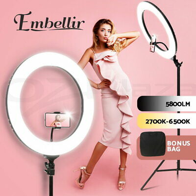"19"" 5600K LED Ring Light Dimmable Diva With Stand With Stand For Phone Camera"