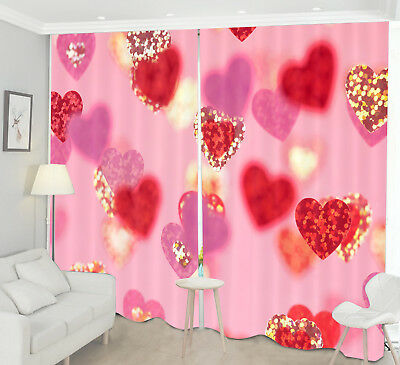 3D Love Heart To Heart Blockout Photo Printing Curtain Fabric Window Decor Drape