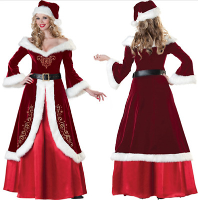 Women Adult Christmas Long Dress Red Costumes Miss Mrs Santa Claus Party Cosplay