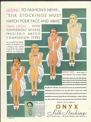 Fashion's News - Silk Stockings Must Match Your Face & Arms Onyx Hosiery ad 1930