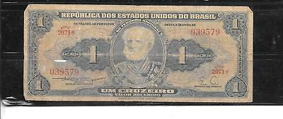 BRAZIL #150c 1956 VG CIRCULATED CRUZEIRO OLD VINTAGE BANKNOTE PAPER MONEY NOTE