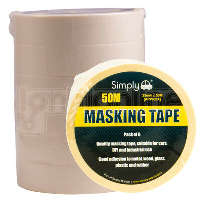 Simply Masking Tape DIY Painters Decorators Arts Crafts 25mm x 50M Pack of 6